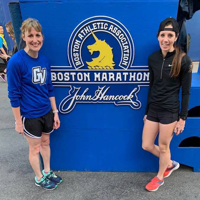 Jennifer Cathey (left) and friend at Boston Marathon 2019